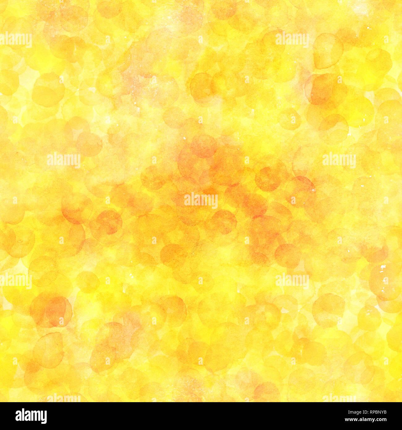 Eine nahtlose Muster von gelb Aquarell punkten. Eine Hand gezeichnet wiederholen, einer abstrakten Hintergrund Stockfoto