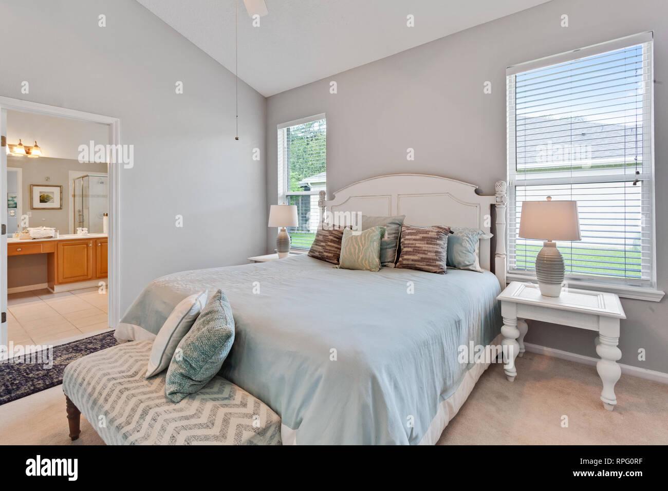 Helle Moderne Modernes Schlafzimmer Amerikanische Haus Dekoration Inspiration Mobel Stockfotografie Alamy