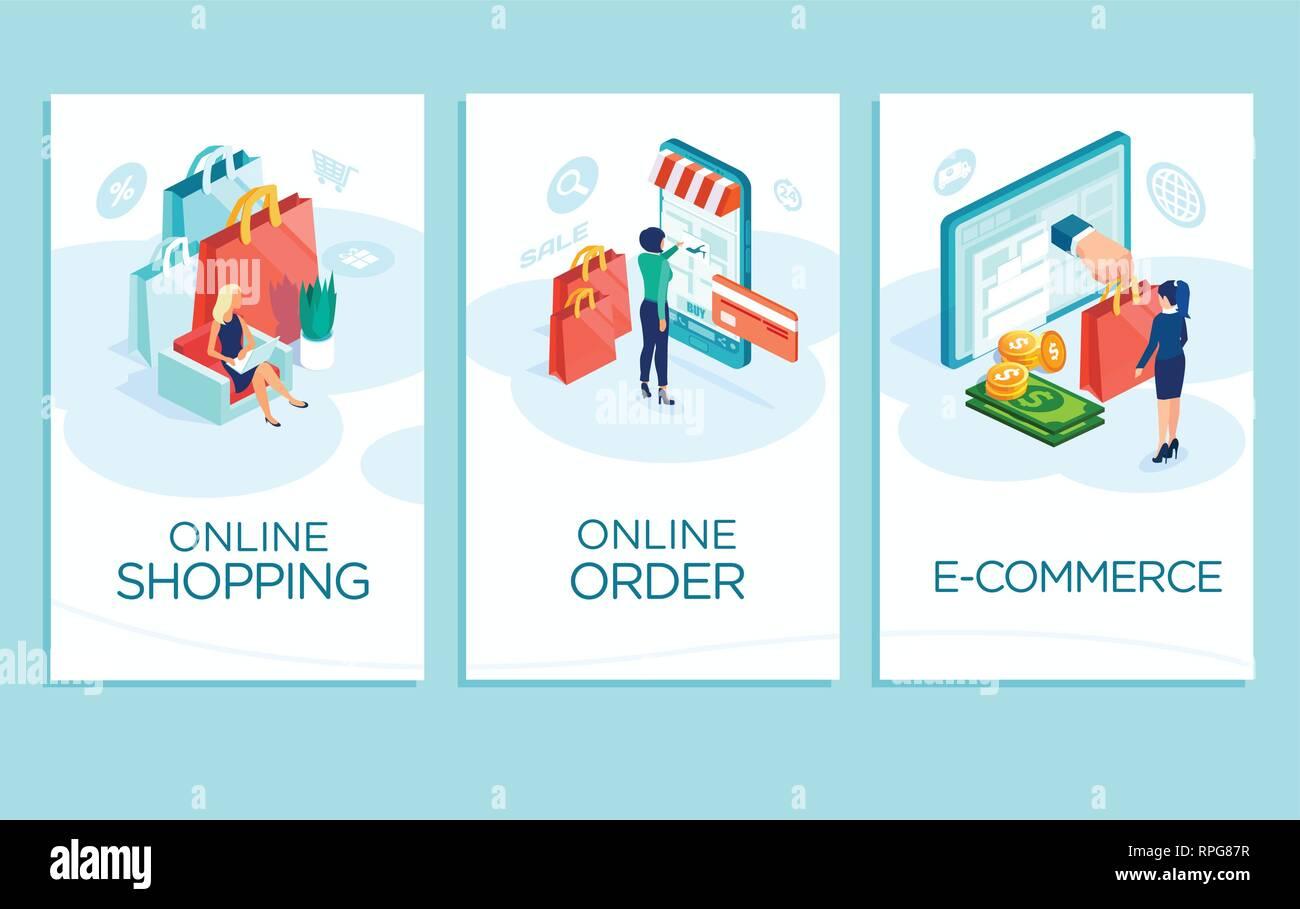 Online Shopping Konzept Vektor Banner Mobile App Vorlagen Von