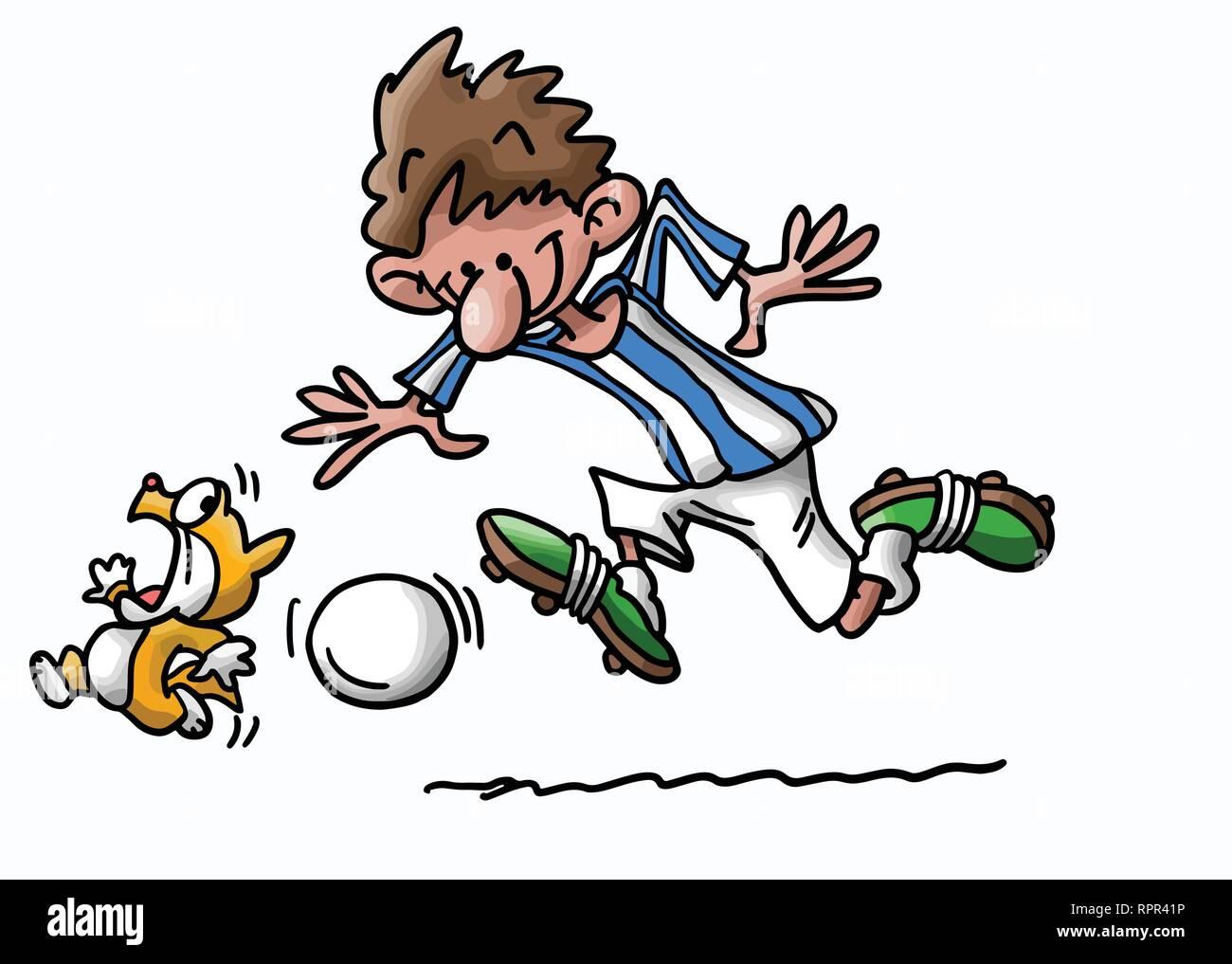 Cartoon Katze Und Mensch Spielen Fussball Vector Illustration