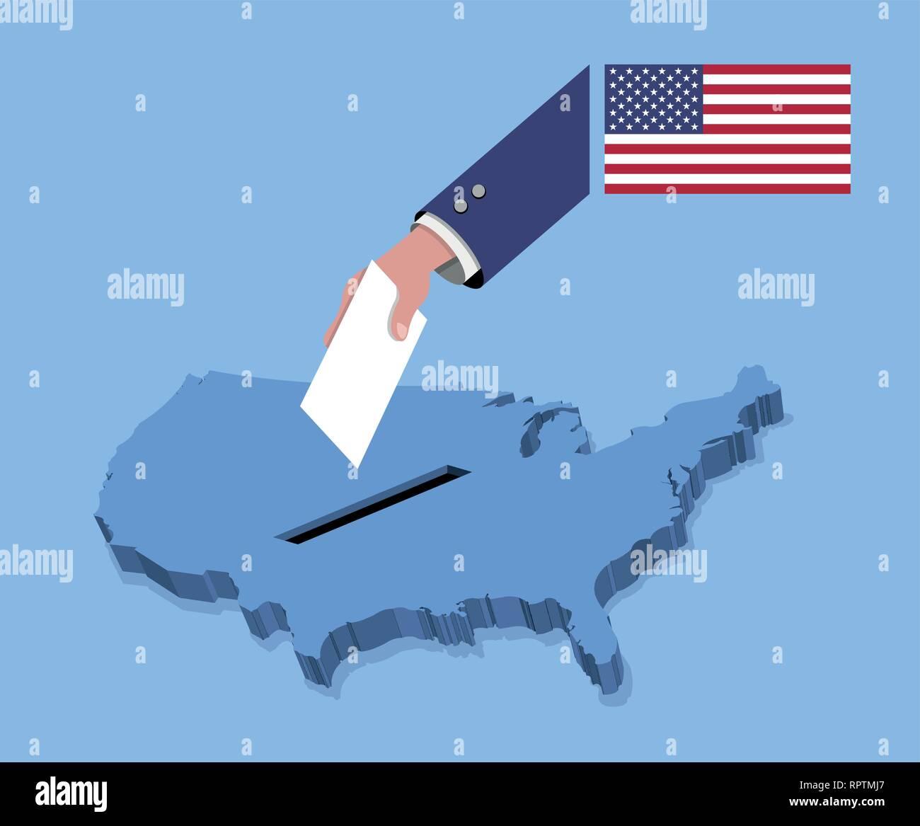 Abstimmung Fur Die Wahlen In Den Usa Uber Eine Usa Karte Alle
