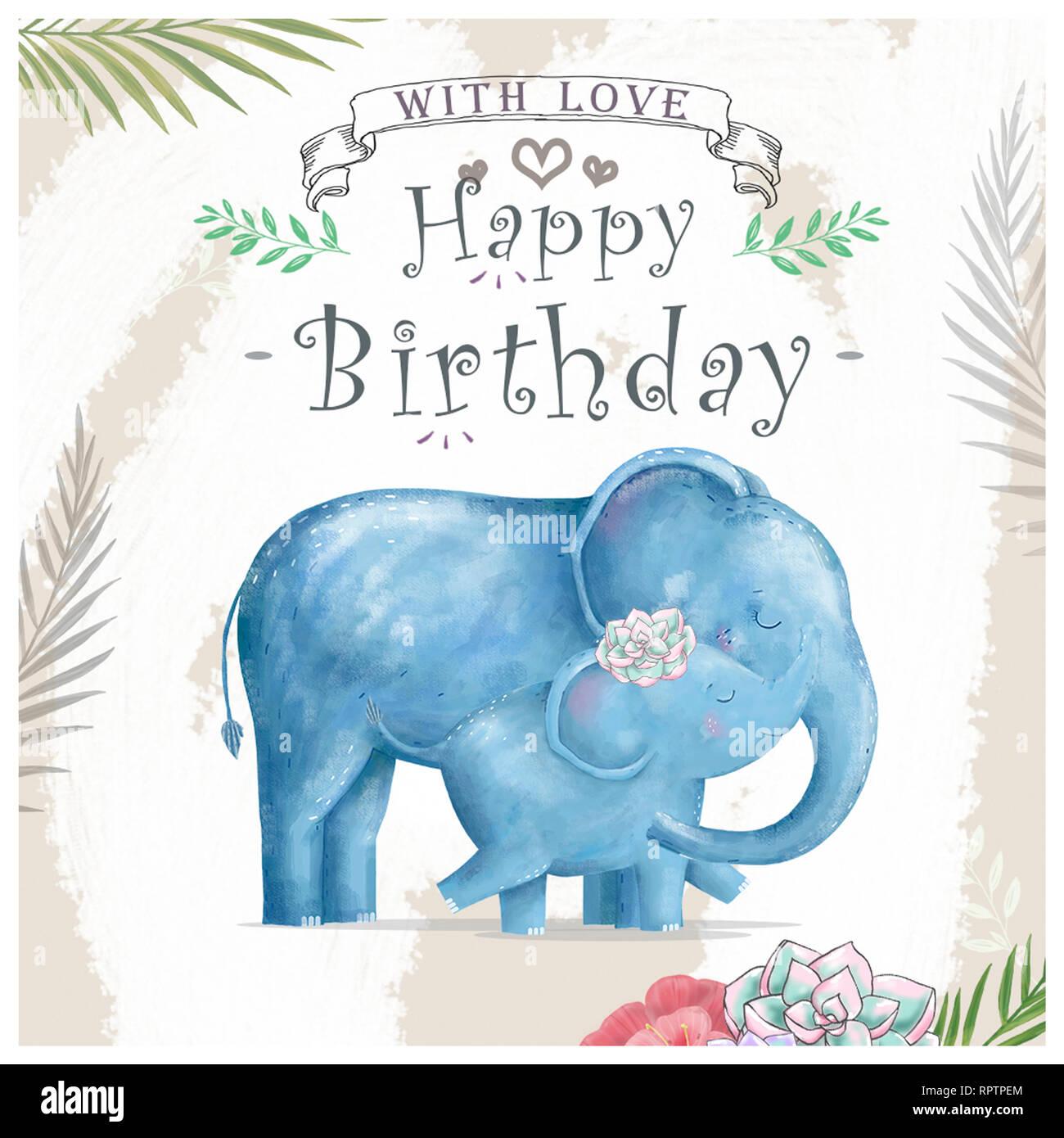 Aquarell Baby Elefant Und Mutter Niedliche Elefanten Für Grußkarten