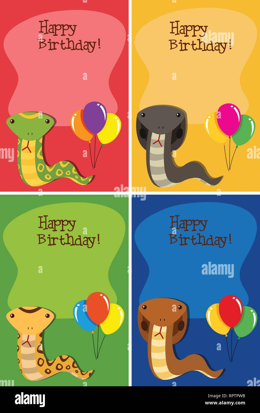 Satz von Snake Happy Birthday Cards Abbildung Stock Vektorgrafik ...