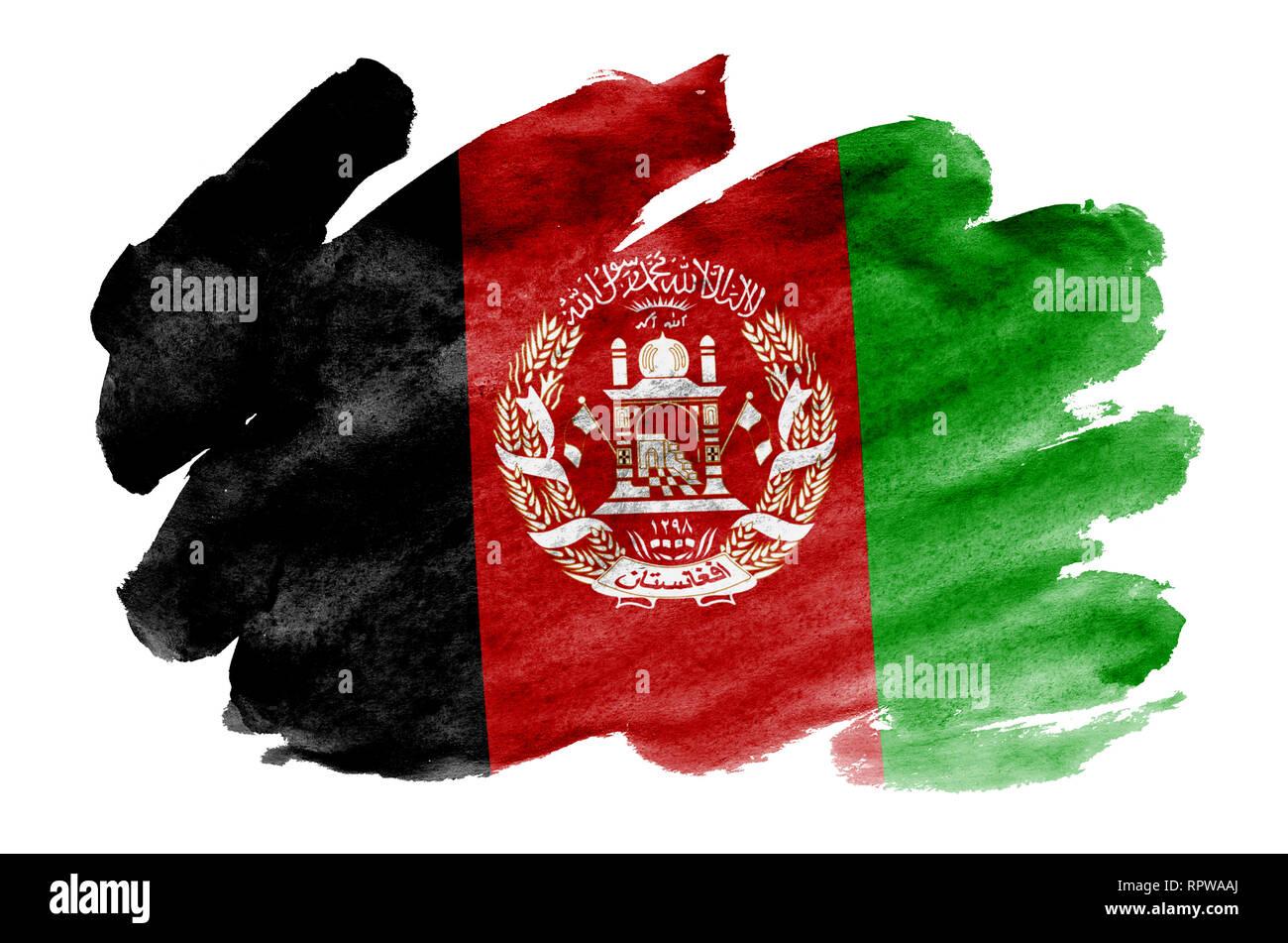 Afghanistan Fahne Ist In Flussiger Aquarell Stil Auf Weissem