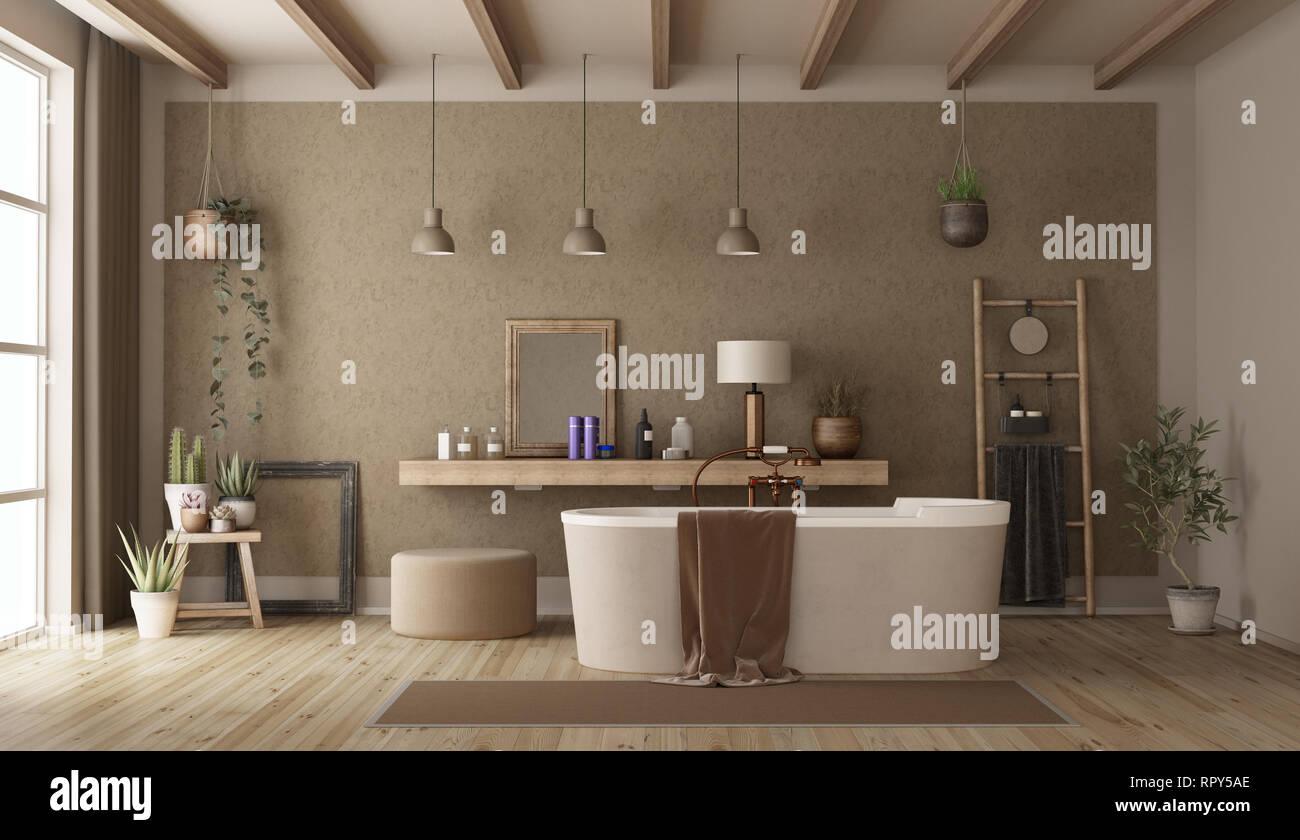 Vintage Bad mit moderner Dusche und Retro-stil Objekte - 3D ...