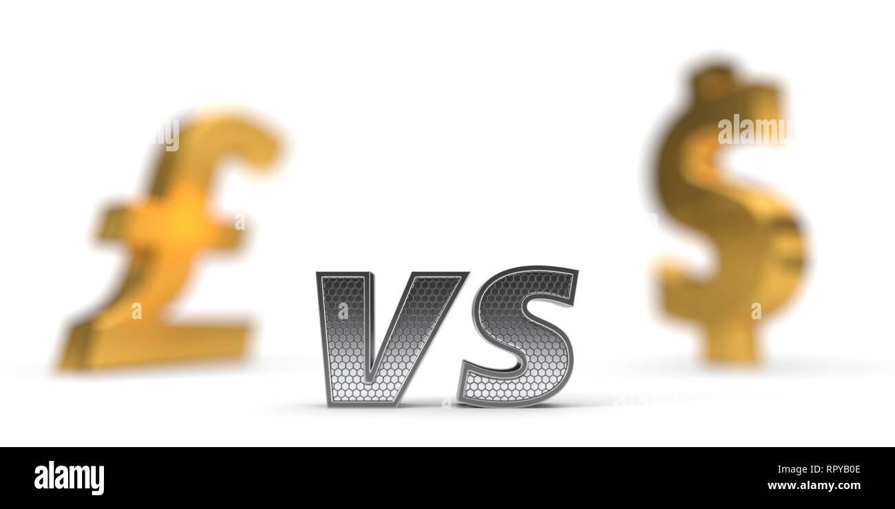 Wirtschaftliche Krieg Konzept. Pfund gegenüber dem US-Dollar. 3D-Darstellung Stockbild