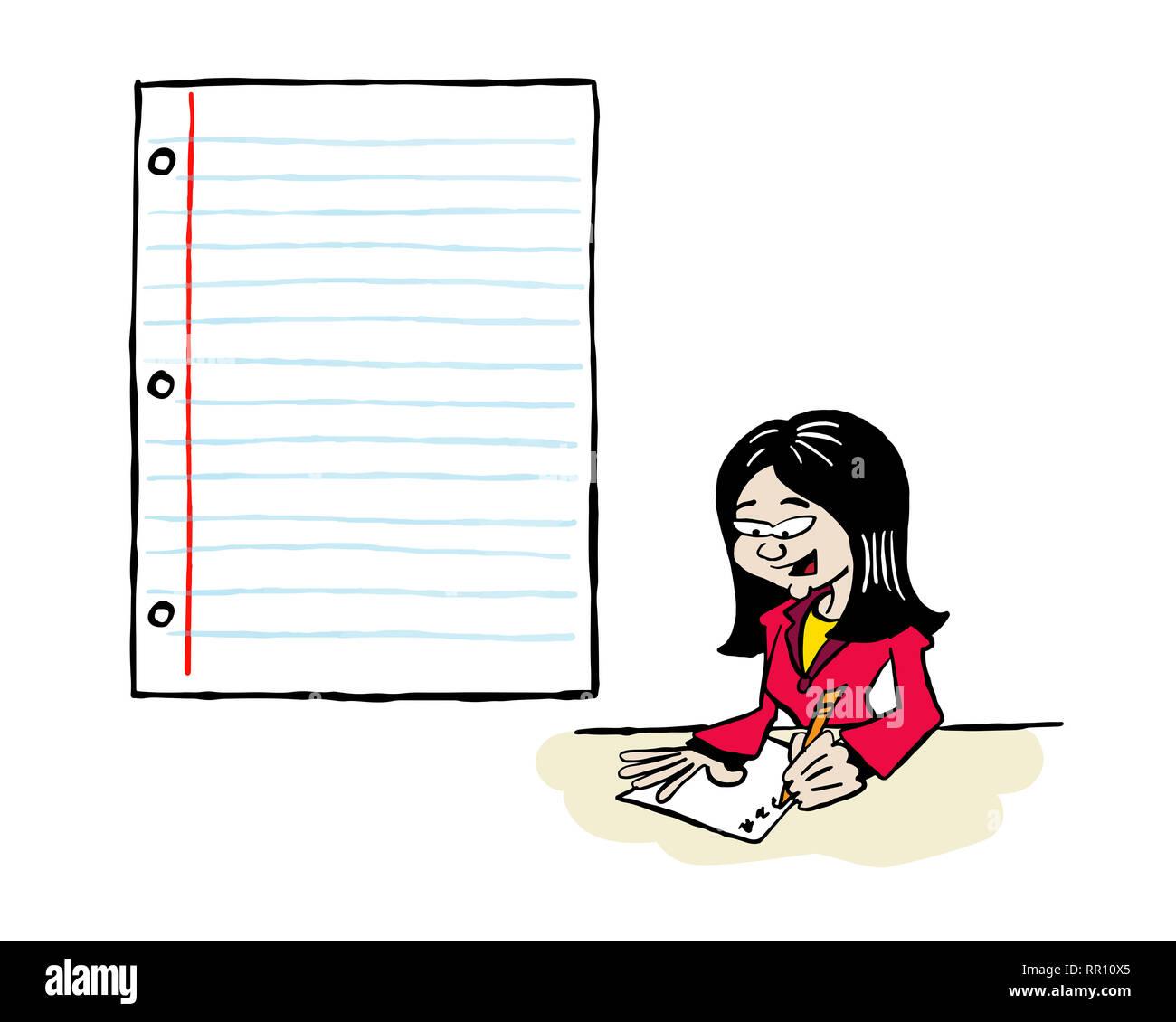 Asiatische Frau Schreiben in ein Stück Papier Stockbild