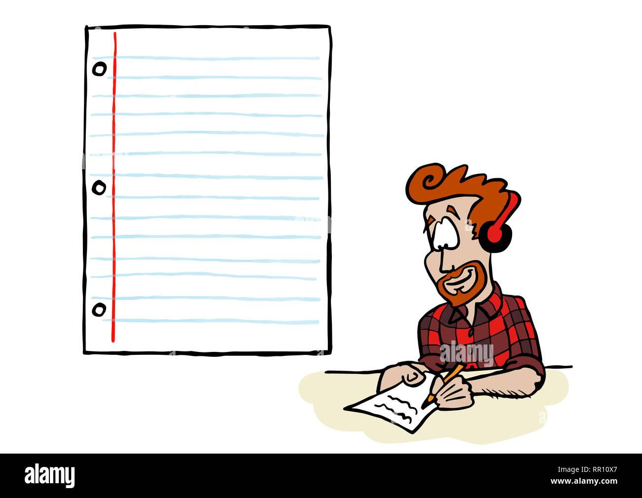 Junger Mann schreiben auf ein Stück Papier Stockbild