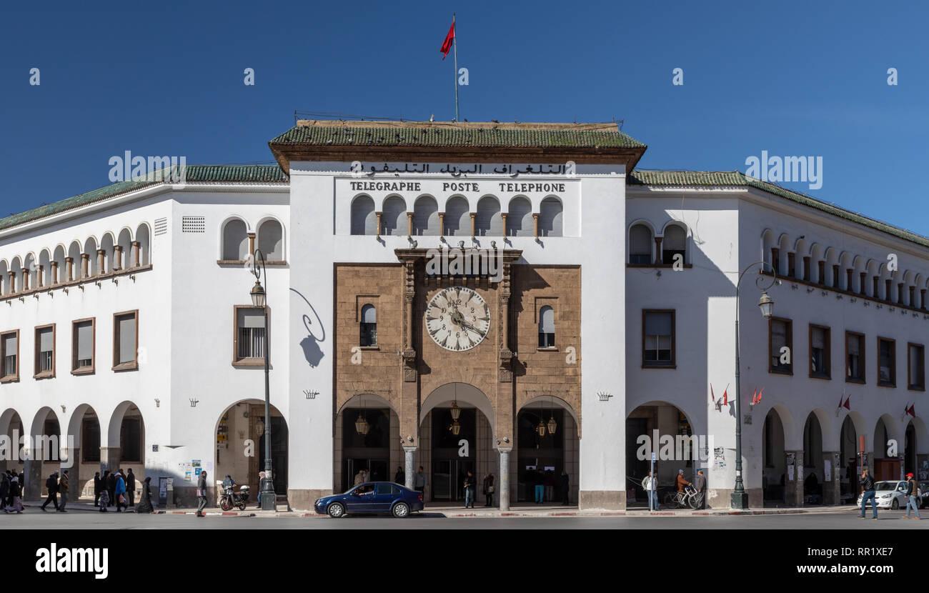 Art déco-kolonialen Post Office, Avenue Mohammed V, Rabat, Marokko Stockbild