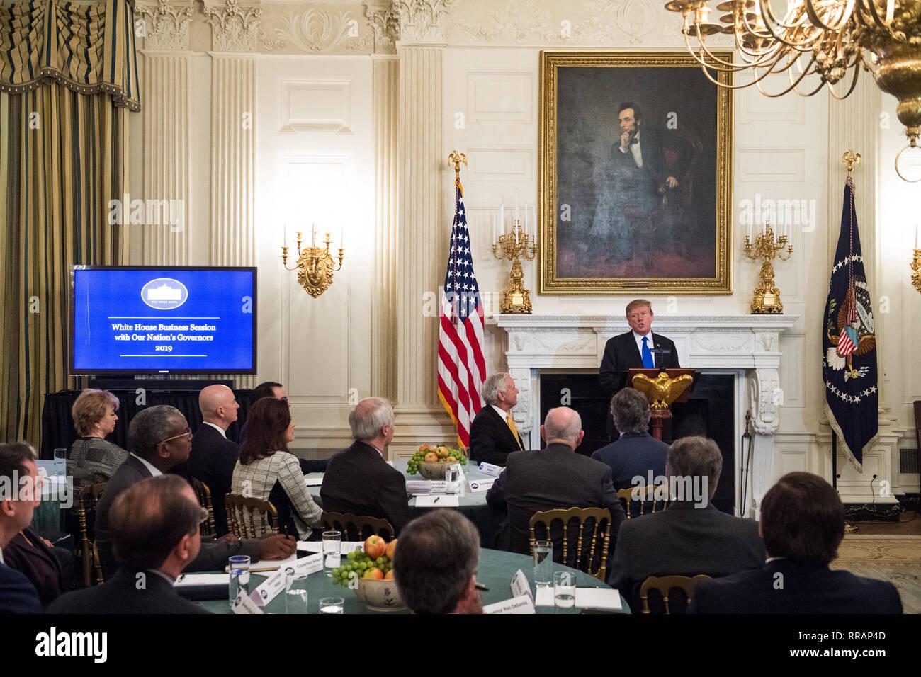 Prasidenten Der Vereinigten Staaten Donald J Trumpf Adresse Eine