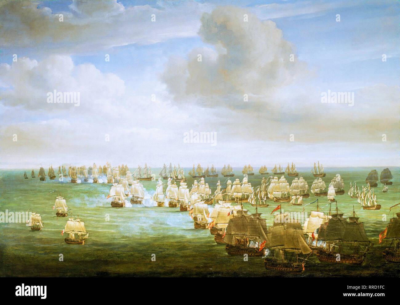 Die Schlacht von Trafalgar, 21. Oktober 1805, zu Beginn der Aktion, C. 1808 von Nicholas Pocock Stockbild