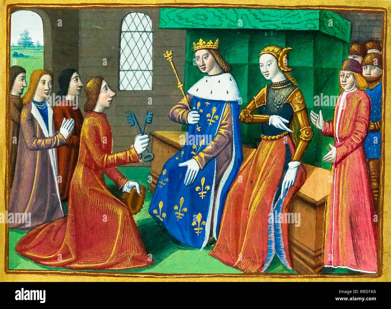 Die Bürger der Stadt Troyes Hand über Tasten der Dauphin und Jeanne d'Arc. c. 1484, Malerei Stockbild
