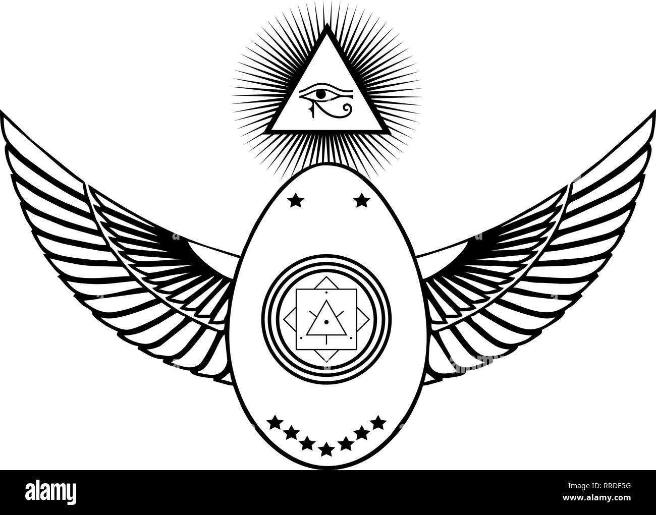 Mason, Skarabäus, All seeing Eye, Ägypten Berge/Freimaurer Stockbild
