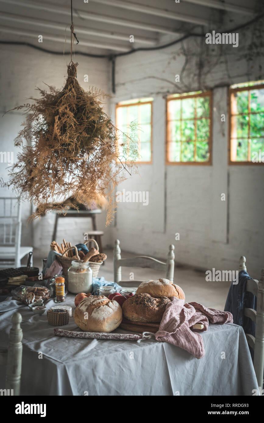 Bündel trockenes Nadelholz Zweige hängen an Twist über Relationen mit Bäckerei in der Nähe von Stühlen im Zimmer Stockbild