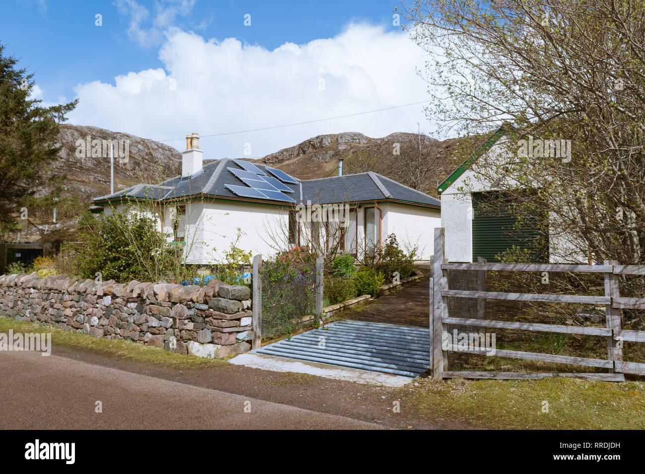 Vieh Grid über Wohn- Auffahrt, Shieldaig, Scottish Highlands, Großbritannien Stockbild