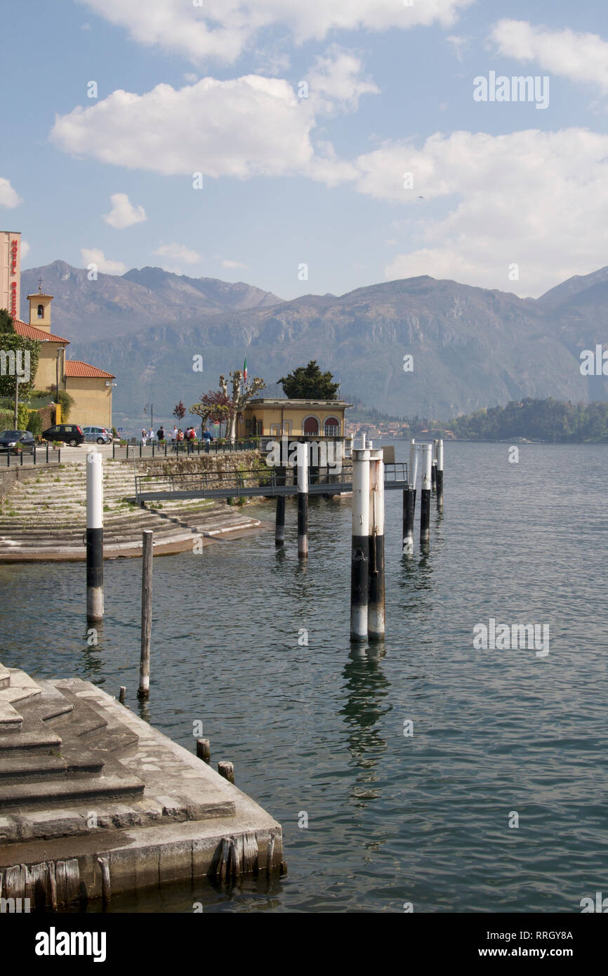 Tremezzo-Pier am Comer See Stockbild