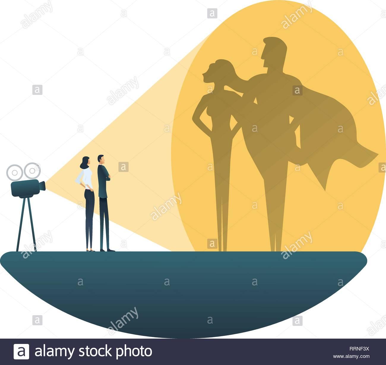 Business Superhelden Team Vektor Konzept Für Mann Und Frau Symbol