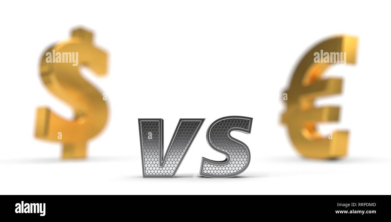 Wirtschaftliche Krieg Konzept. us-Dollar gegenüber dem Euro. 3D-Darstellung Stockbild