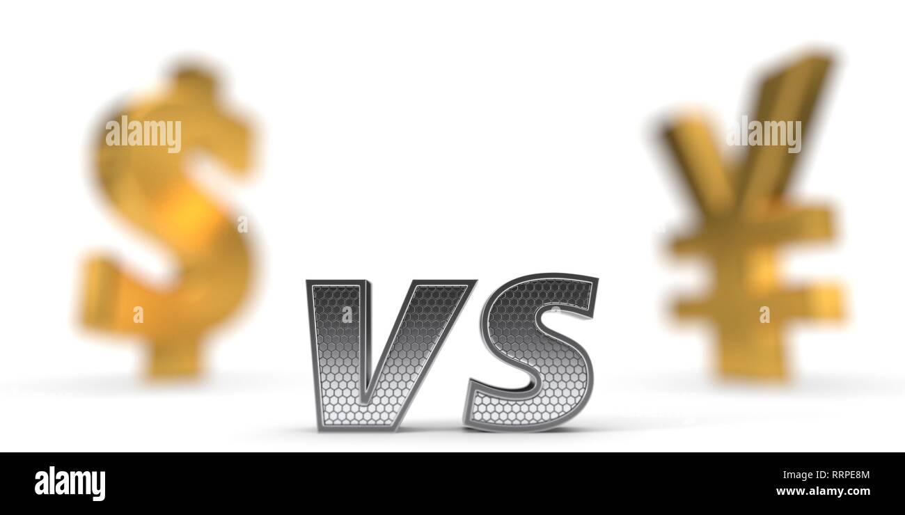 Wirtschaftliche Krieg Konzept. Dollar gegenüber Yuan. 3D-Darstellung Stockbild