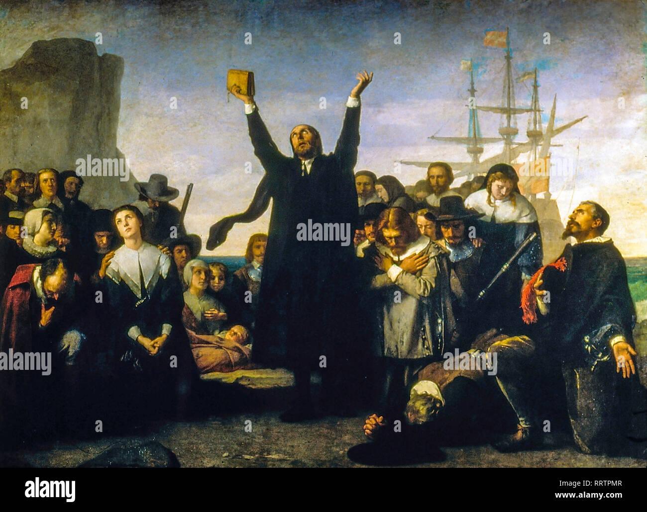 Landung der Puritaner in Amerika, 1883, Pilgrim Fathers Gemälde von Antonio Gisbert Stockfoto