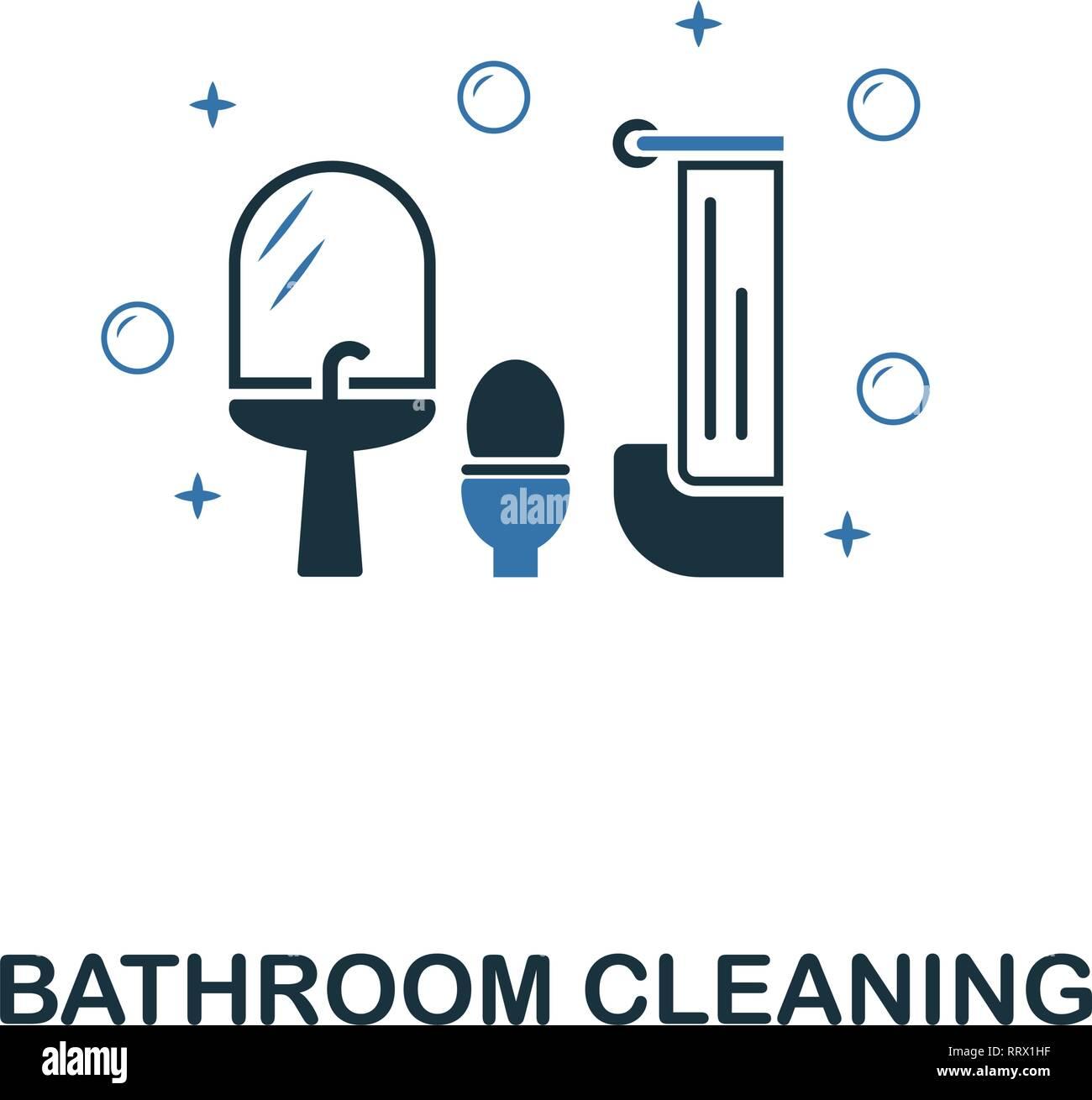 Badezimmer Reinigung Symbol. Kreative zwei Farben Design aus
