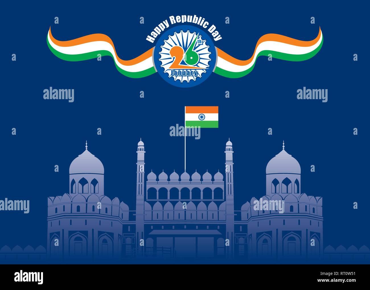 Glücklich, Tag der Unabhängigkeit von Indien illustration Vektor, Poster Design Stockbild