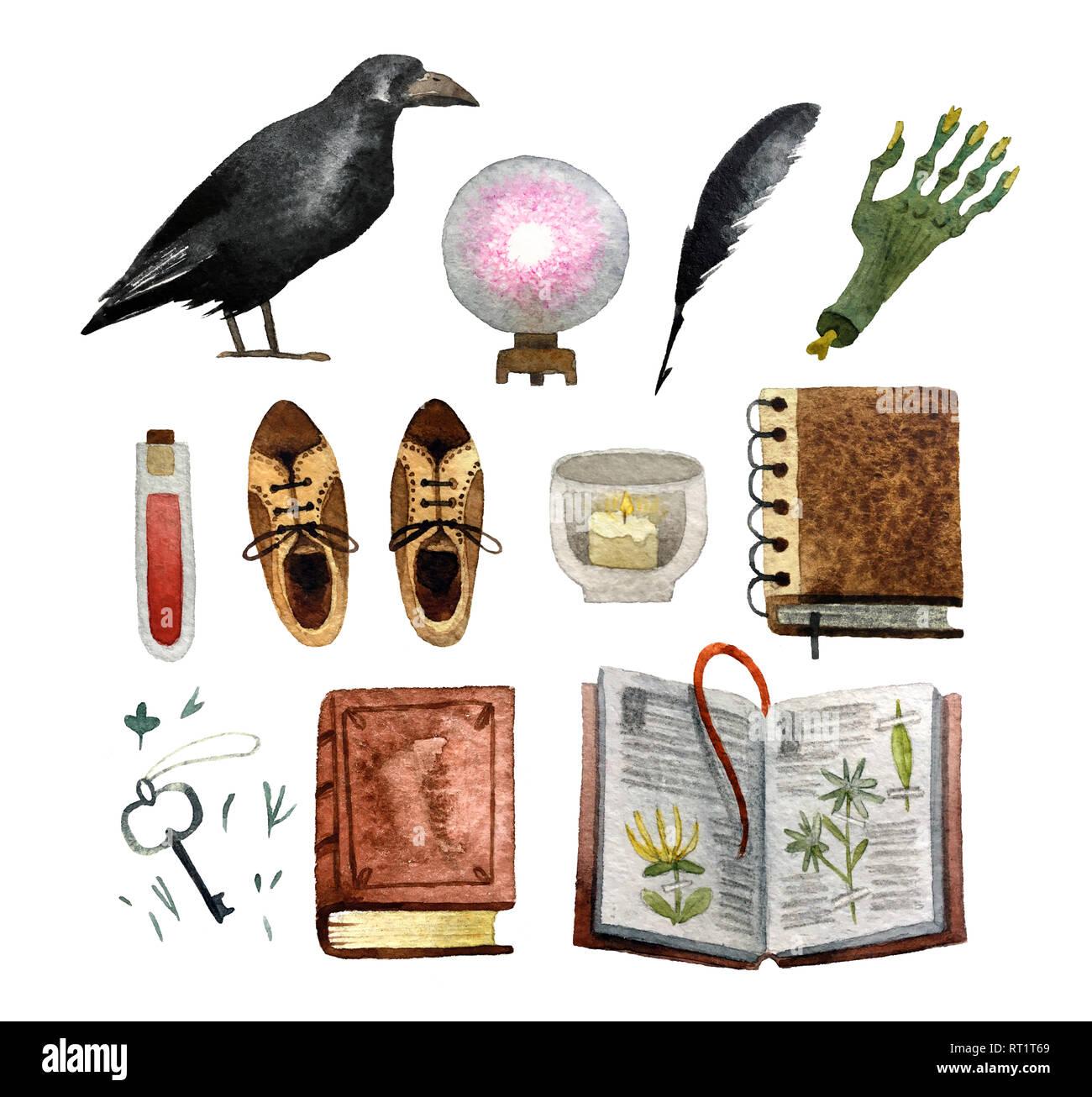 Satz von Aquarell hand gezeichnete Objekte auf weißem Hintergrund für Muster, Einladung, Postkarte, Textil-, Gewebe isoliert. Stockbild