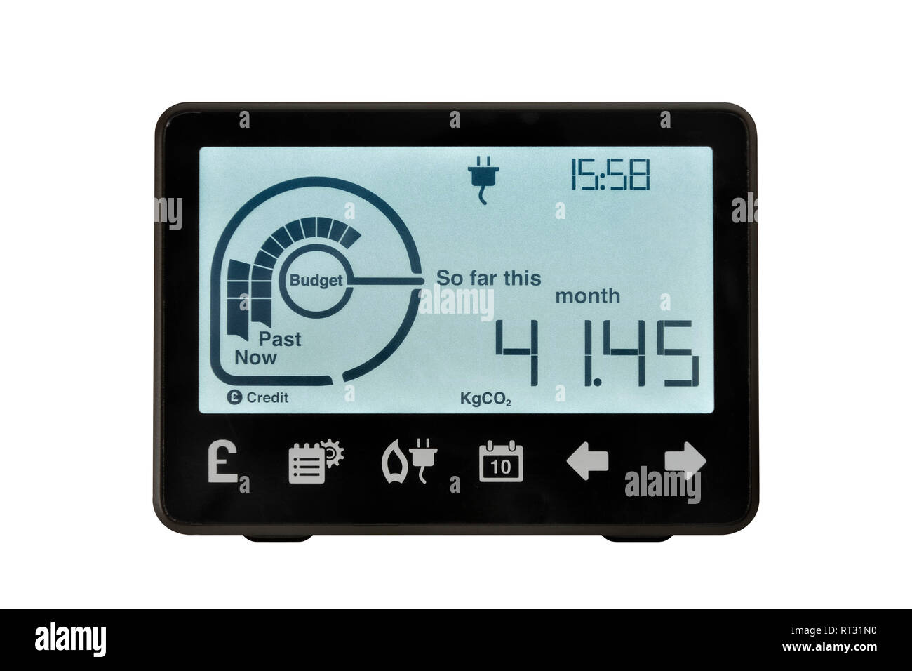 Smart Meter, Vereinigtes Königreich. Ein elektronisches Gerät zur Aufzeichnung und Überwachung der Verbrauch von Elektrizität im Haus. Stockbild