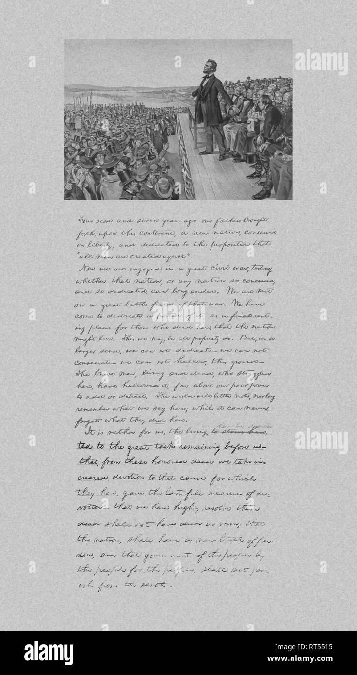 Präsident Abraham Lincoln die Bereitstellung der Gettysburg Address und eine Kopie seiner Notizen aus, die Rede. Stockfoto