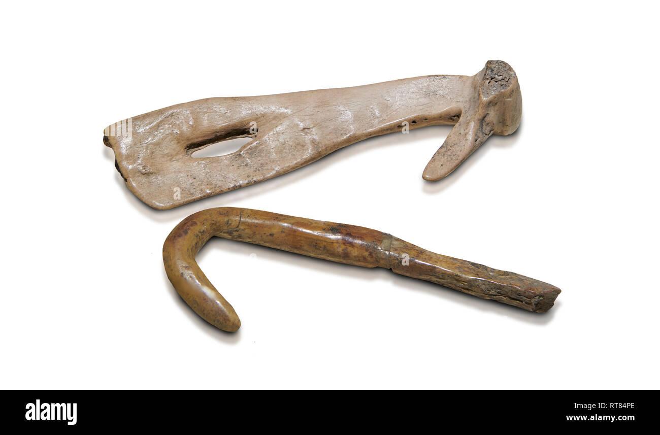 Jungsteinzeit Knochen Angelhaken. 6000 v. Chr.. Catalhoyuk Sammlungen. Museum für Anatolische Zivilisationen in Ankara Stockbild