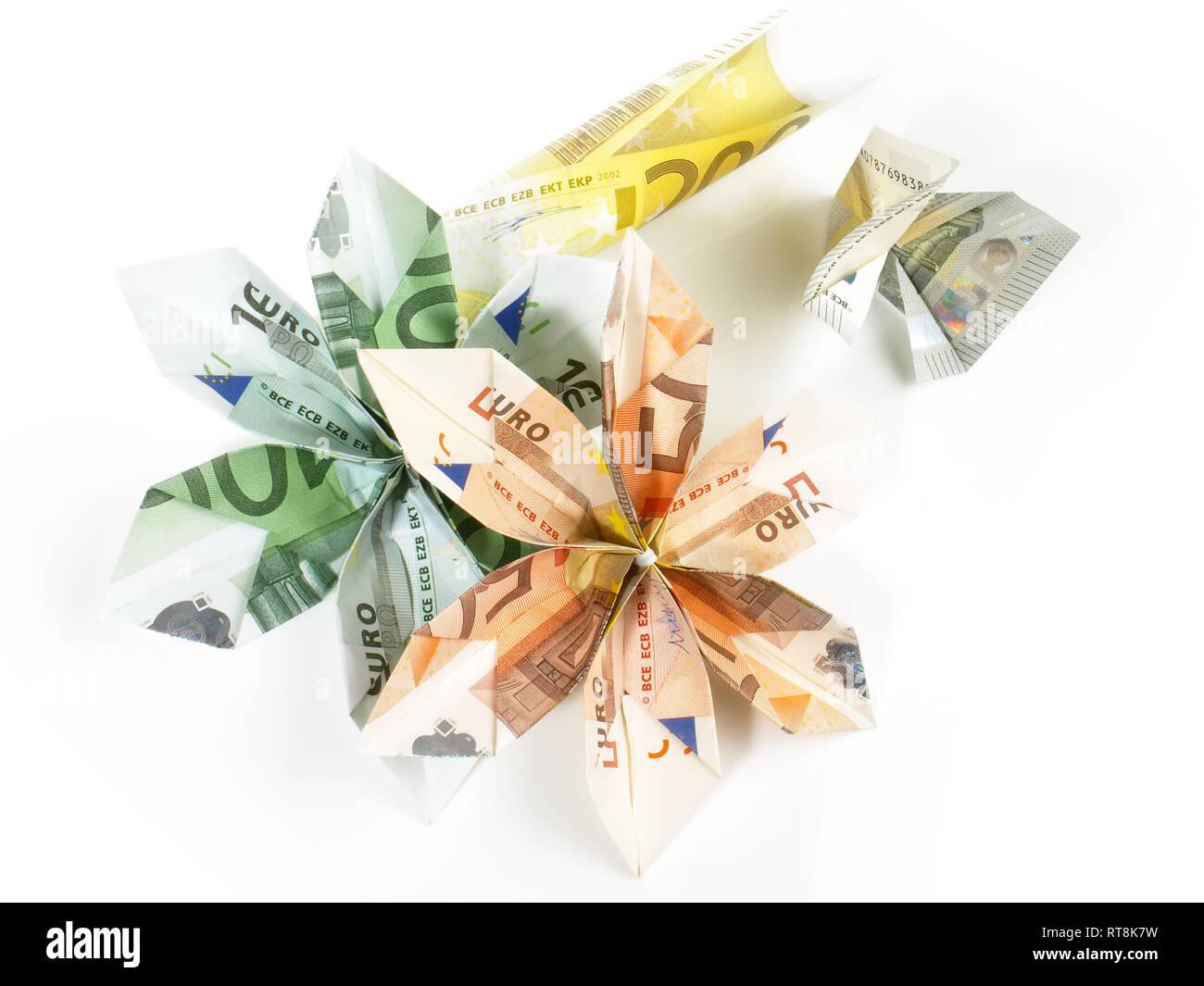 EURO Origami Geld Blüten Stockfoto