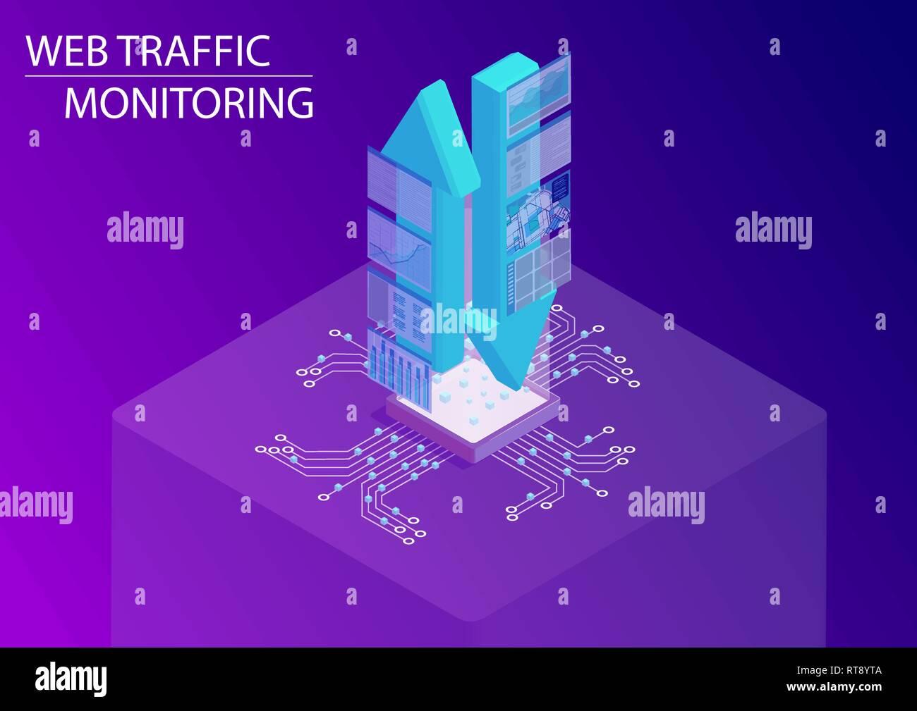 Web Traffic Monitoring Konzept. 3d-isometrische Vector Illustration mit schwebenden Upload und Download Pfeile einschließlich der Überwachung von Dashboards, um Stock Vektor