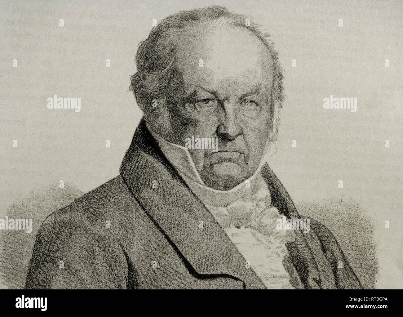 Francisco de Goya (1746-1828). Spanischer Maler. Lithographie, Detail. Crónica de España, Historia y Ilustrada Descriptiva de Sus Provincias. Katalonien. 1866. Stockbild