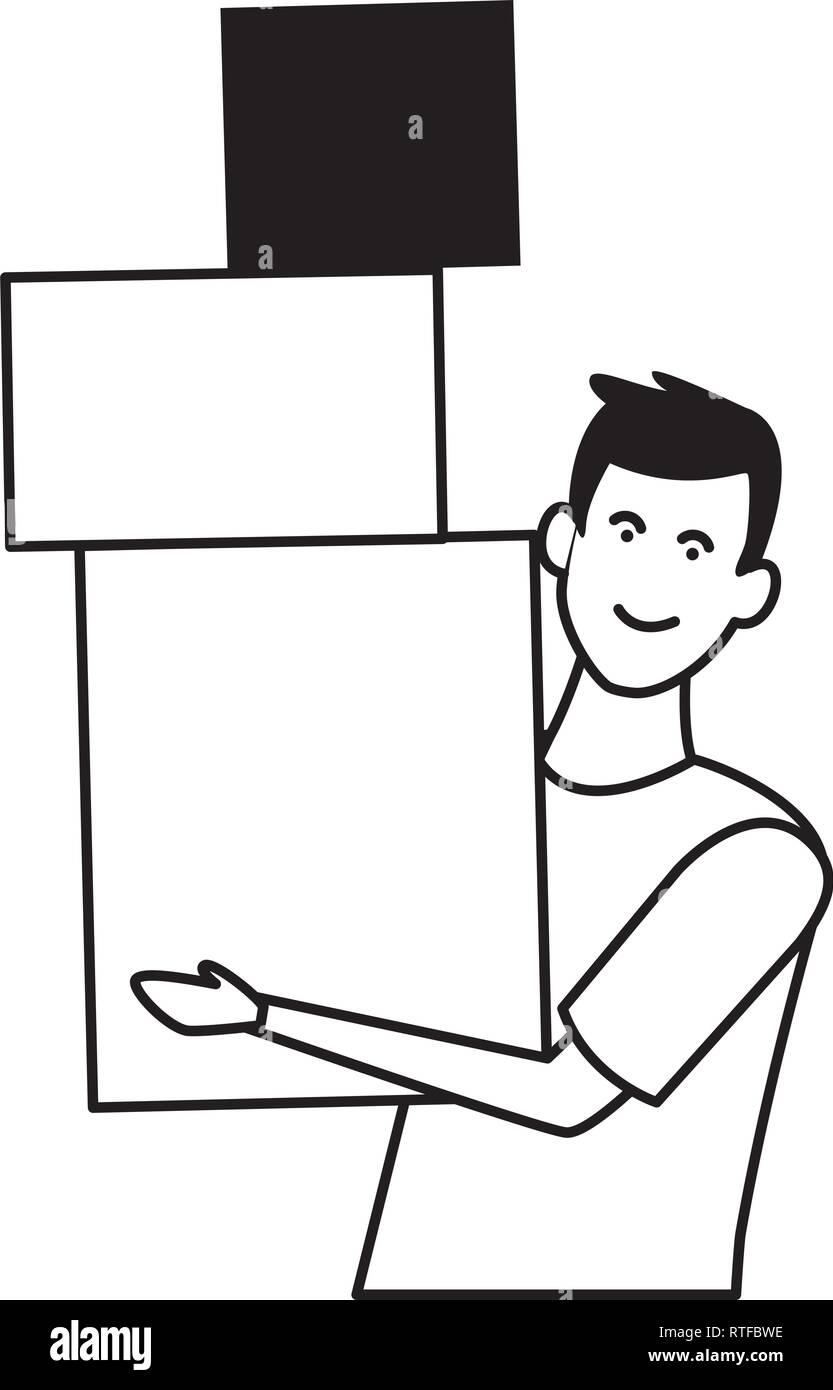 Junger Mann Karikatur in Schwarz und Weiß Stockbild
