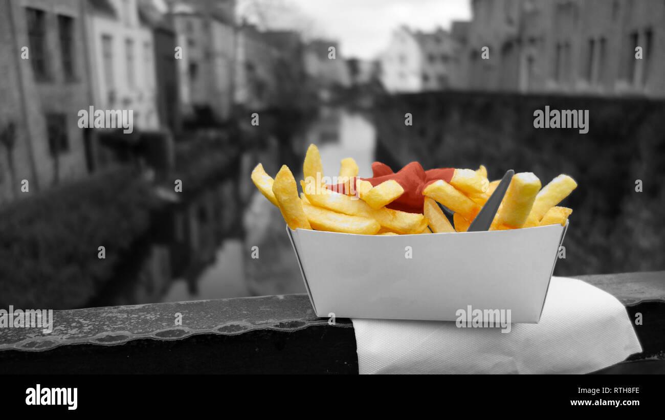 Brugge Pommes Frites Stockbild