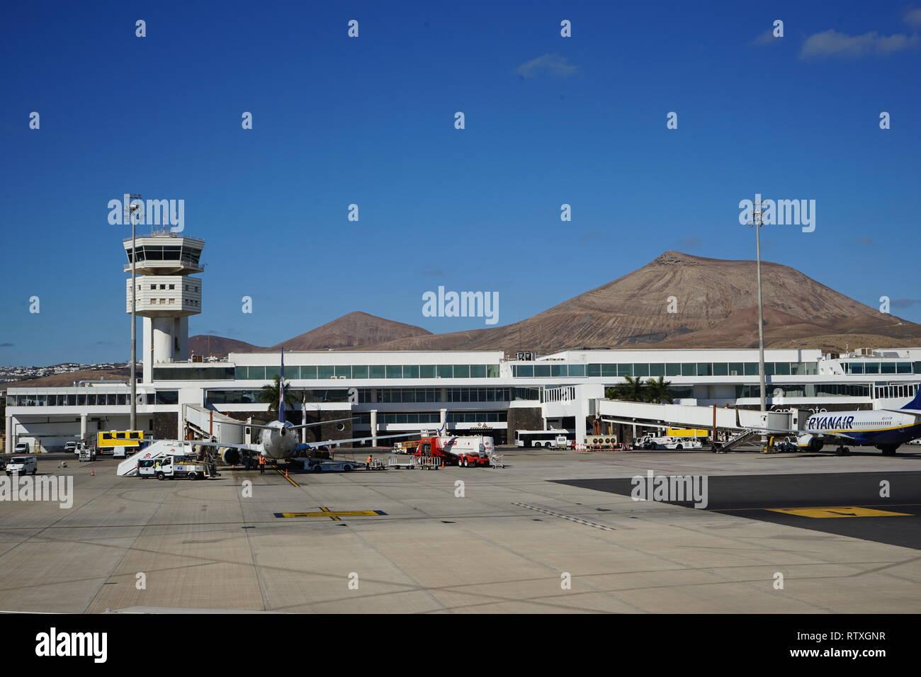 Flughafen Arrecife, Lanzarote, Kanarische Inseln, Spanien Stockbild