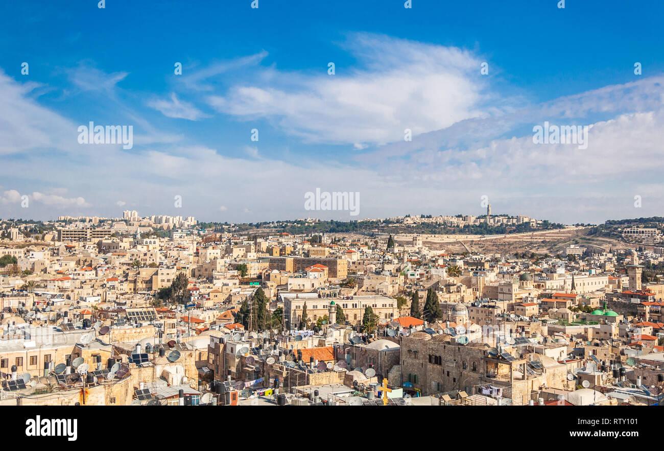 Blick auf die Altstadt von Jerusalem. Stockfoto