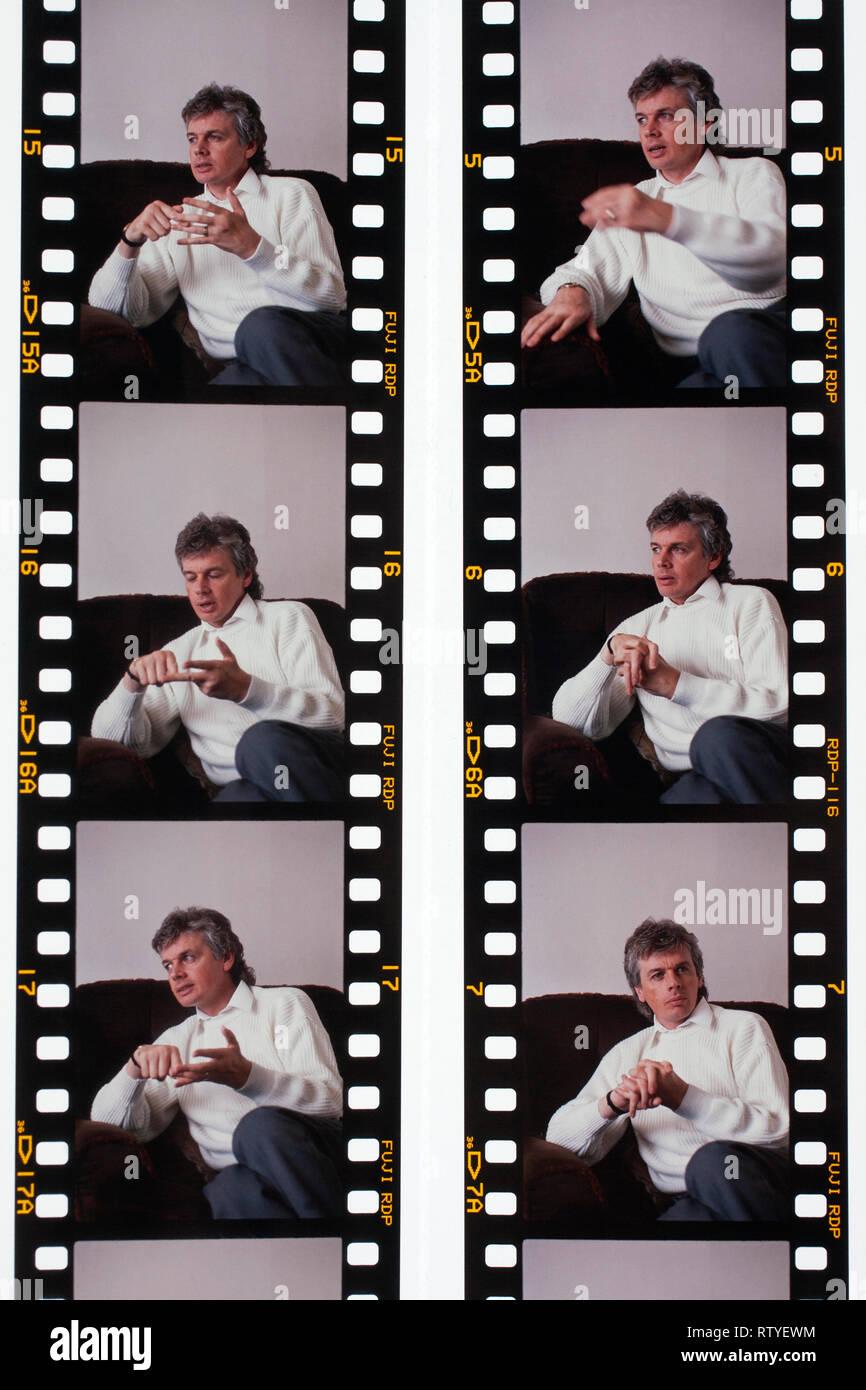 Montage, Interview, Fotos, von Jungen, David Icke, 1990, zu Hause, Ryde, Isle of Wight, England, Vereinigtes Königreich, Stockbild