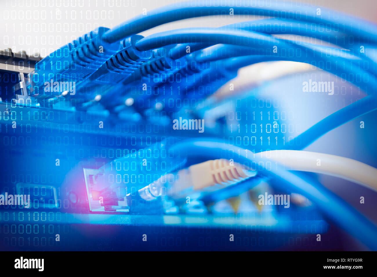 Netzwerk Infrastruktur Switch Oder Router Buchse Kabel