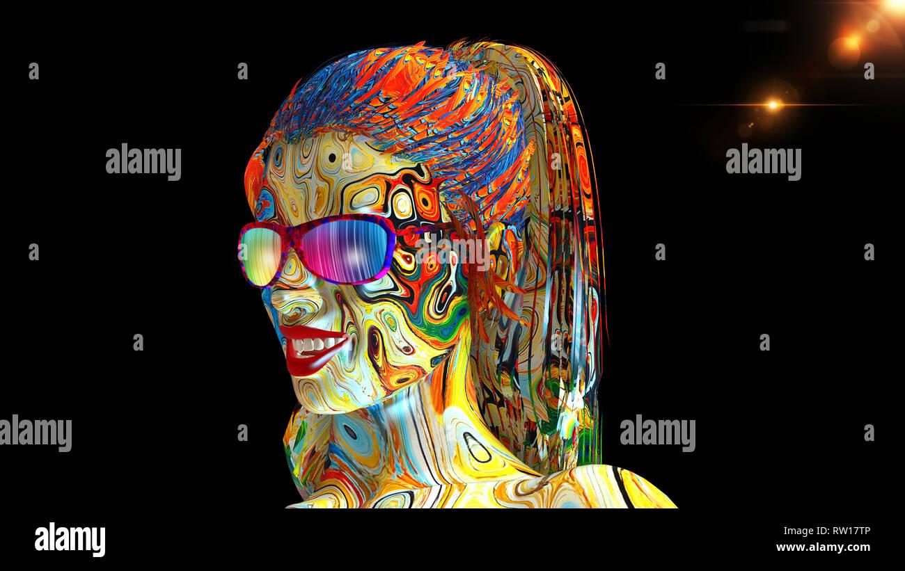 Bunte Madchen Mit Brille Woman S Kopf Mit Gesicht In Farbe Und
