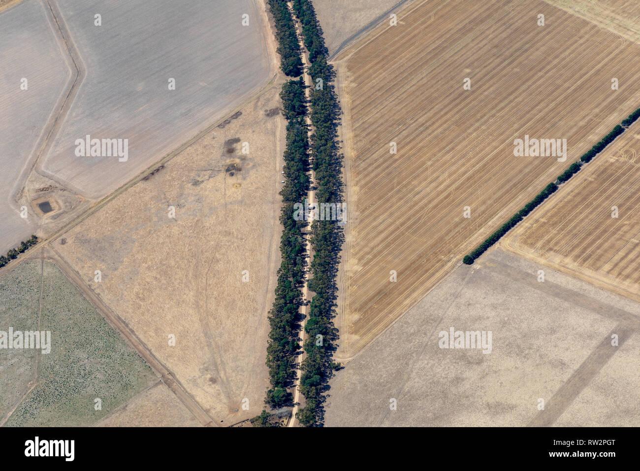 Luftaufnahmen der viktorianischen Landschaft und Betriebe während der Dürre Stockfoto