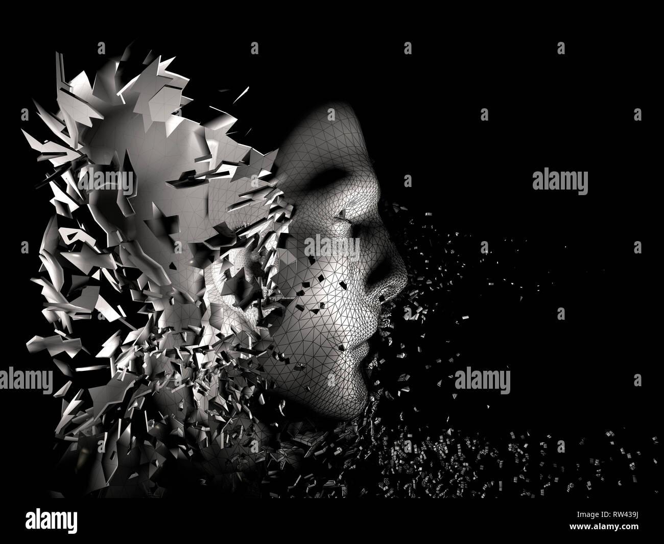 Cgi (Computer Generated image)/Illustration: Symbolbild: Digitalisierung, Kuenstliche Intelligenz (KI, AI), Cyberspace, Roboter, Bionik (nur fuer Rot Stockbild