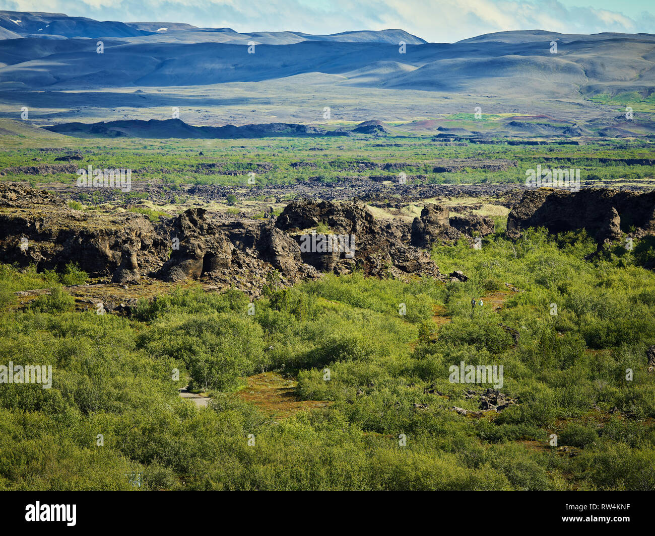Dimmuborgir - Bereich der ungewöhnlich geformten Lavafelder, Höhle und vulkanische Felsformationen, östlich von Myvatn, Island. Stockbild