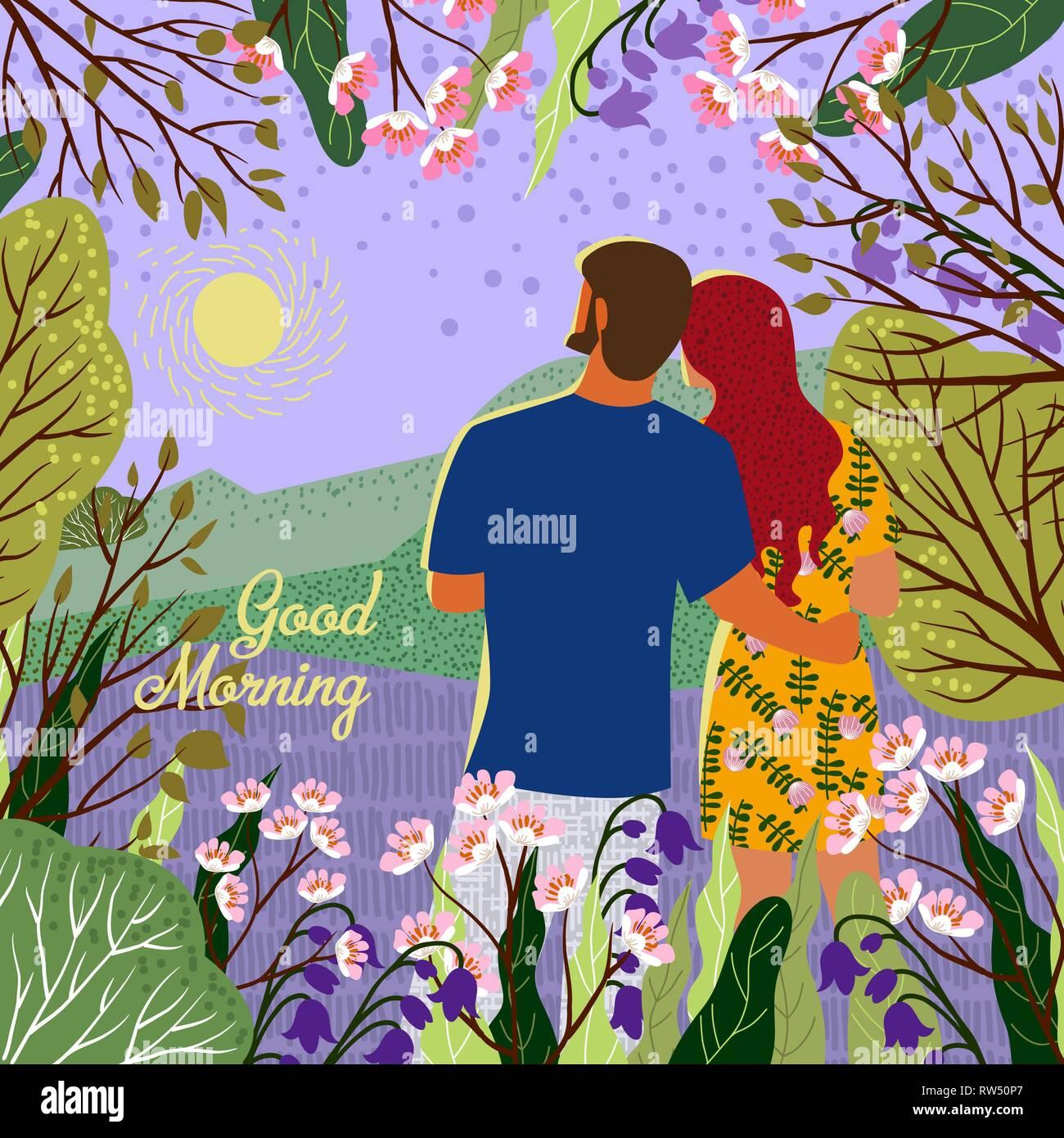 Guten Morgen Junges Paar Erfüllt Der Neue Tag