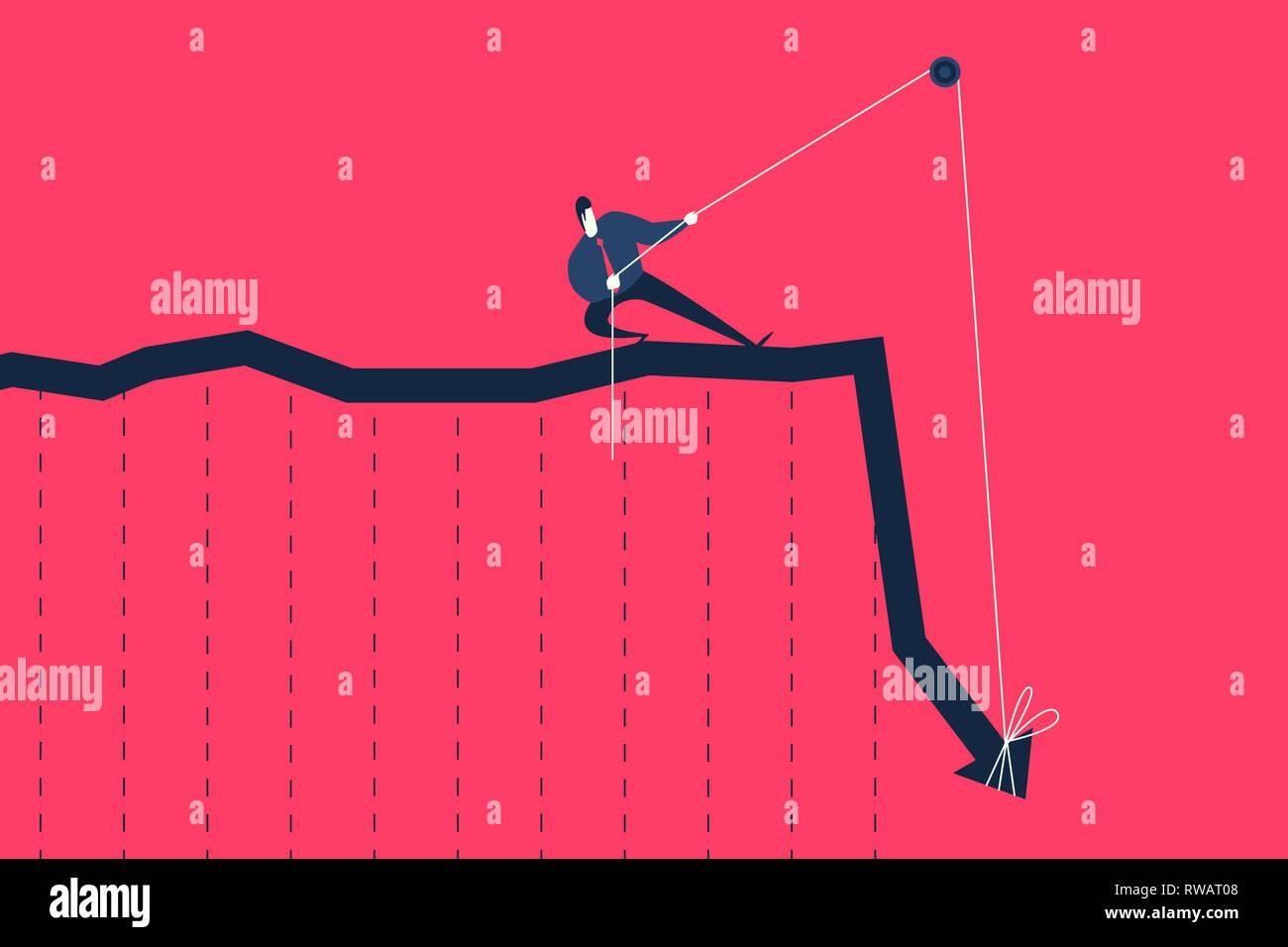 Unternehmer ziehen Seil versuchen, bis der Graph anheben. Stockbild