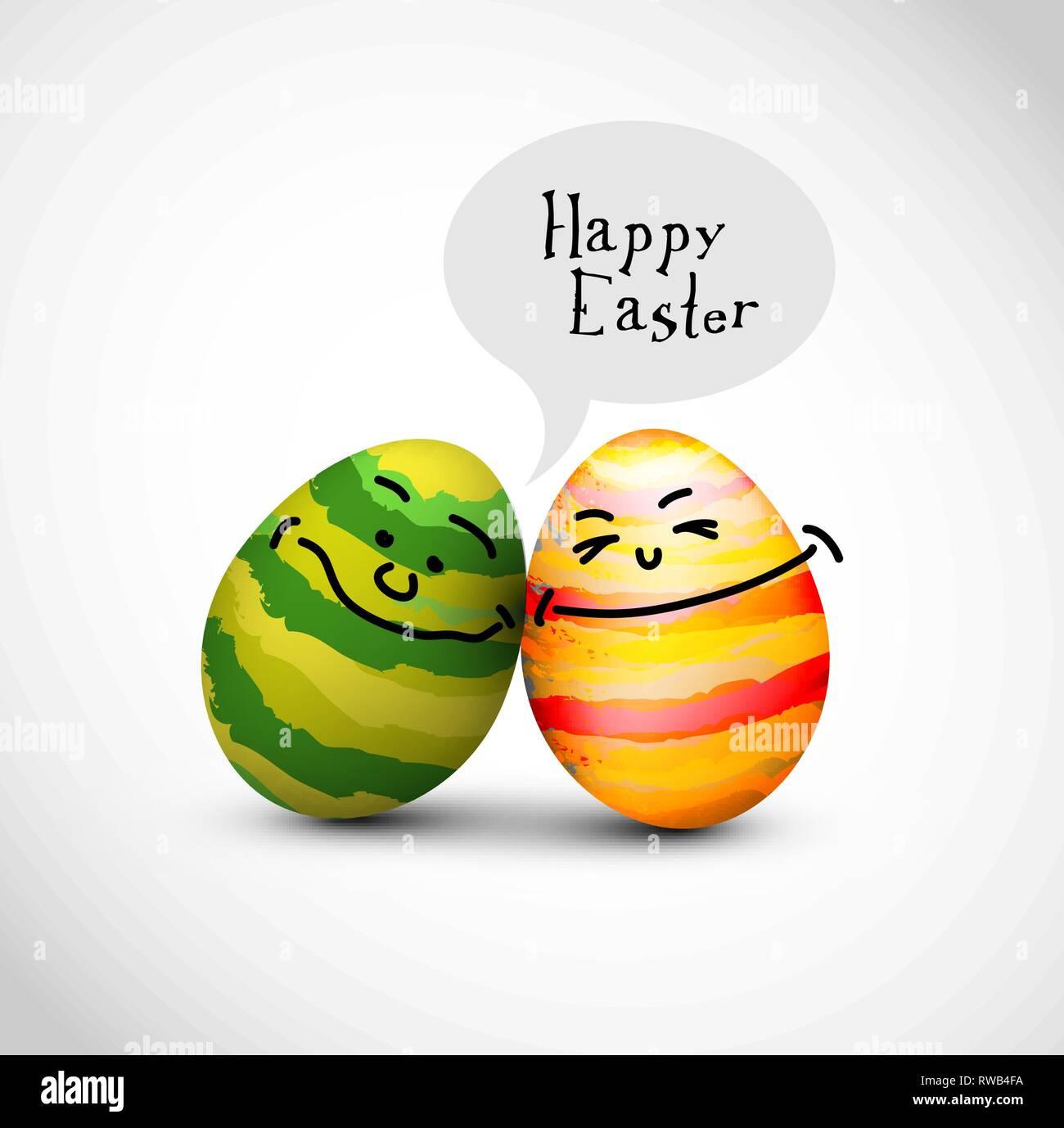 Lustig verzierten Ostereier mit einer Sprechblase sagen Frohe Ostern Stockbild