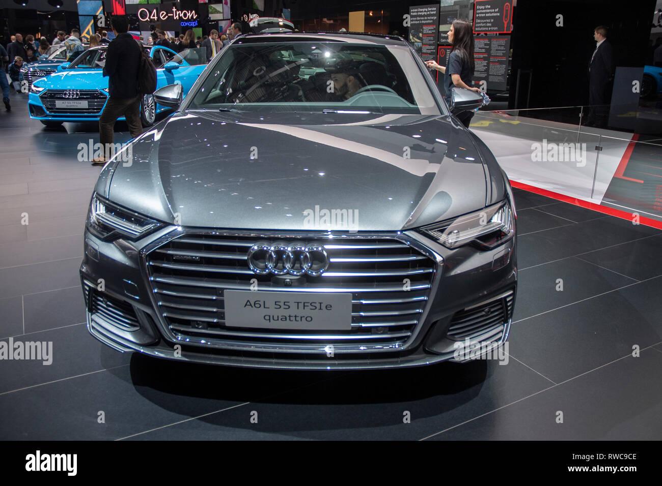 Genf Schweiz 6 März 2019 Der Neue Audi A6 L 55 Tfsie Quatro