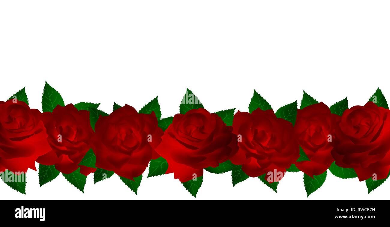 Horizontale Hintergrund Aus Leuchtend Rote Rosen Karte Mit