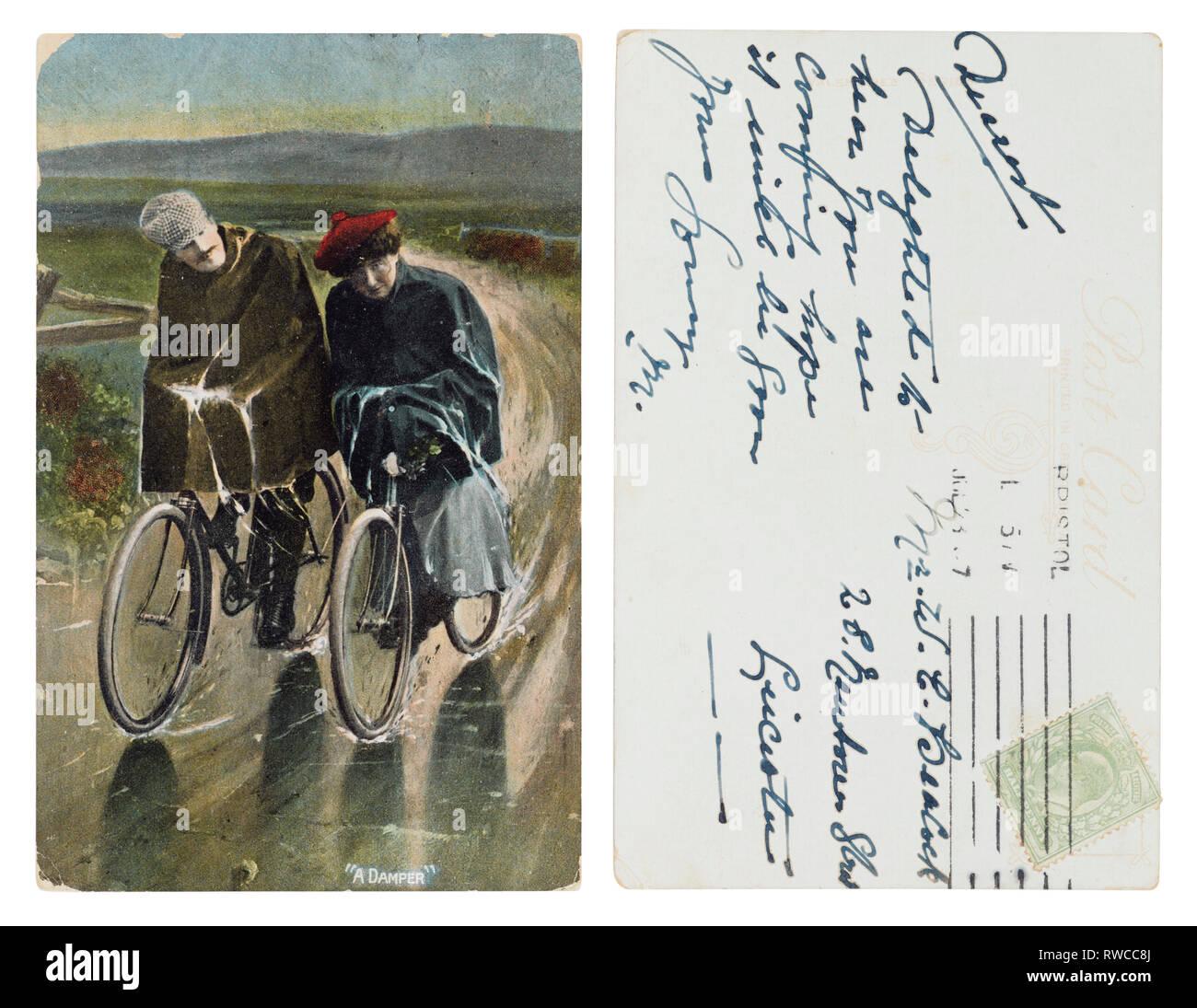 Edwardian Postkarte von zwei nassen Radfahrer einen Dämpfer' von Bristol nach Leicester gesendet Stockbild