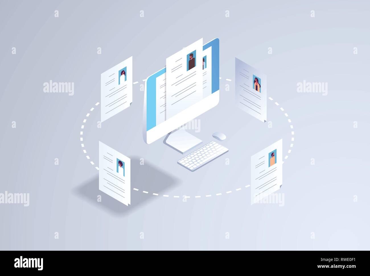 Curriculum vitae Rekrutierung Kandidat Job Position hr Personal Einstellung Konzept Lebenslauf Lebenslauf Profil auf dem Computer Monitor Bildschirm 3d-isometrische flach Stockbild